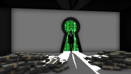 steal: Elite hacker entering a room through a keyhole to steal money silhouette 3d illustration information security backdoor concept with blue digital background matrix