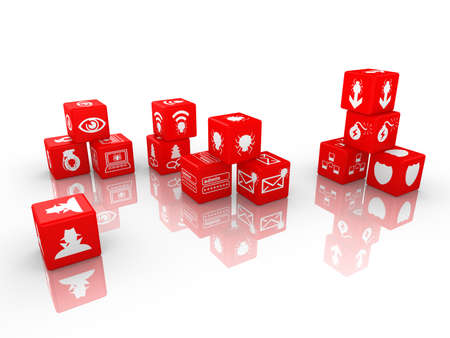 threat: Red dice with information security threat icons isolated on white 3D illustration cybersecurity concept