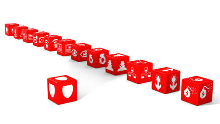 red dice: Red dice in a row with information security threat icons isolated on white 3D illustration cybersecurity concept Stock Photo