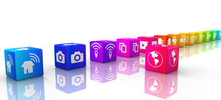 3d rainbow: Internet of things icons on rainbow colored cubes in a row IOT 3D illustration Stock Photo