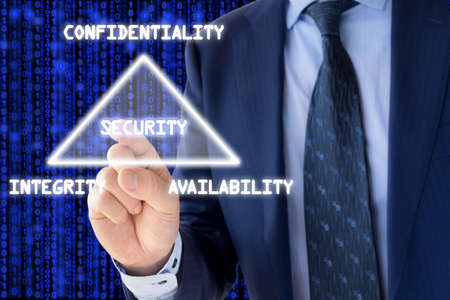 CIA: The basic concept of information security the CIA triangle illustrated by an IT expert on blue