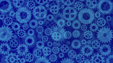 cogs: Different sized an shaped blue cogs and gears background illustration