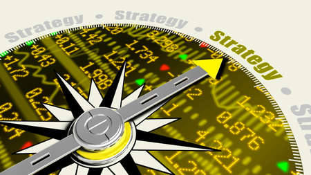 ticker: Business strategy concept with a compass needle pointing at strategy on a stock ticker wall background 3D illustration