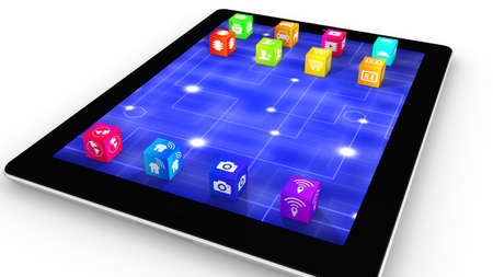 replacing: Internet of things icons on rainbow colored cubes replacing tablet icons IOT 3D illustration