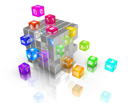 distribute: Internet of things icons on rainbow colored cubes flying out of a big cube IOT 3D illustration Stock Photo