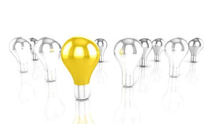 uniqueness: Golden bulb in the middle of silver bulbs uniqueness innovation concept 3D illustration