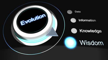 explained: The evolution of data explained rotary knob 3D illustration Stock Photo