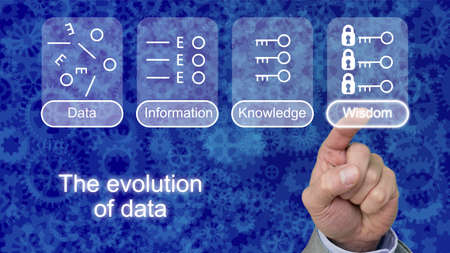 evolve: The evolution of data with icons on blue gear background touched by a finger on wisdom Stock Photo