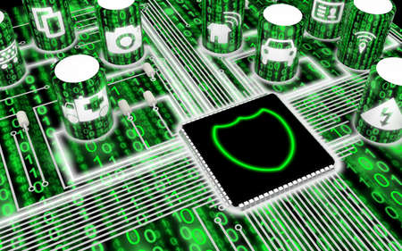 Circuit board with IOT icons in green with a shield on the main chip 3D illustration security concept Stock Photo