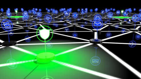 cyber defence: Secure IOT network with nodes with IOT icons and green shielded nodes 3D illustration security concept