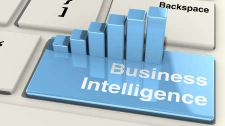 grafica de barras: Primer del teclado con la tecla ENTER tablas de inteligencia de negocio y proyección de barras en él en azul ilustración 3D