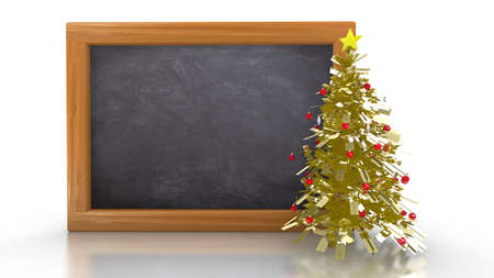 white chalk: Empty blackboard isolated on white with a small golden glitter christmas tree with red baubles on the right side 3D illustration