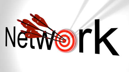 replaced: Three black arrows with a virus bug texture hitting the word network where the letter o is replaced by a circular target 3D illustration cybersecurity concept Stock Photo