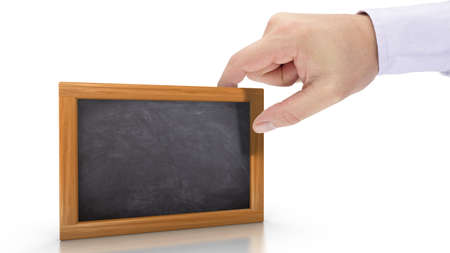 new opportunity: Hand holding a blackboard on white background with empty writing space 3D illustration Stock Photo