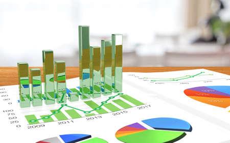 grafica de barras: Escritorio con una revista de negocios y gráficos de barras de extrusión de la página de realidad aumentada ilustración del concepto 3D