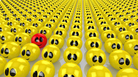 singular: Army of yellow smiling faces all looking in one direction except for one sphere with in red laughing right into the camera 3D illustration uniqueness concept