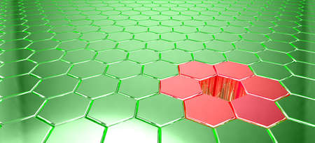 hole in one: Green metal hexagon grid with light reflections and a hole surrounded by red shapes 3D illustration big data concept