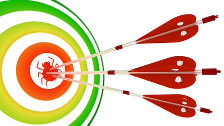 Three white arrows with shields hit a target with a bug in the center of a green to red gradient 3D illustration security concept
