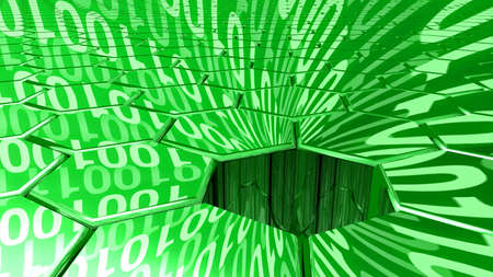 reflecting: Big data concept digital green stream reflecting on a hexagon grid surface and a sinkhole absorbing all the datastreams 3D illustration
