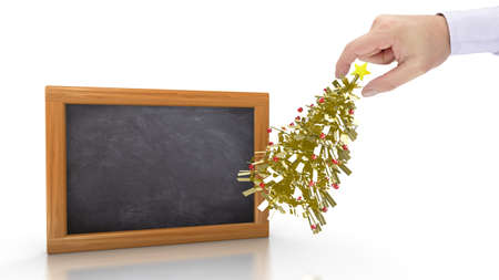 new opportunity: Hand putting a small golden christmas tree next to a chalkboard preparing for the holidays 3D illustration