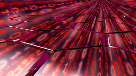 reflecting: Big data concept digital red stream reflecting on a hexagon grid surface 3D illustration Stock Photo