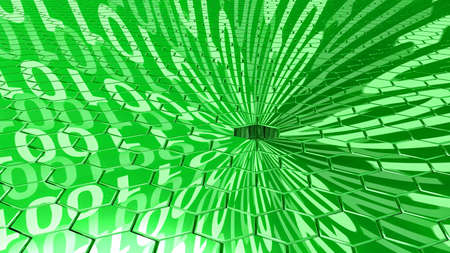 hole in one: Big data concept digital green stream reflecting on a hexagon grid surface and a sinkhole absorbing all the datastreams 3D illustration
