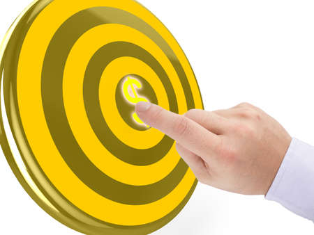 referral: Hand clicks on the center of a golden target with a yellow dollar symbol 3D illustration pay per click concept Stock Photo
