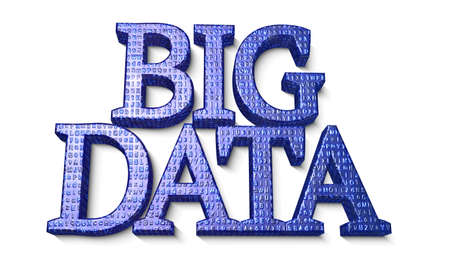 hub computer: The word big data in capital letters with an embossed digital texture in blue 3D illustration