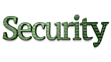 backdoor: The word security in with an embossed digital texture in green 3D illustration