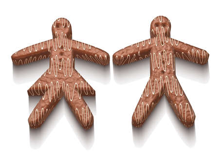 white sugar: Man and woman made of chocolate with white sugar decoration christmas sweets 3D illustration isolated Stock Photo