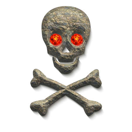 red eyes: 3D Skull with stone texture and glowing red eyes with two crossing bones below isolated on white background
