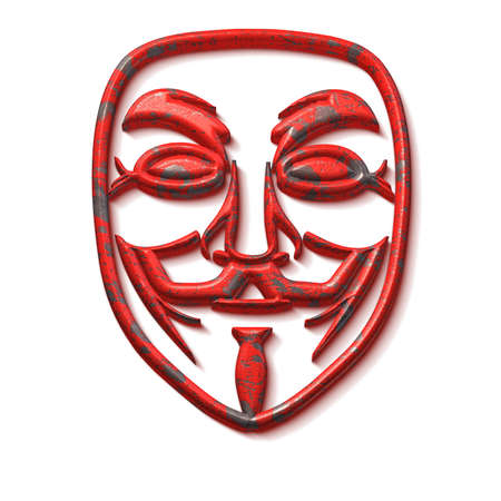 cyberwarfare: Smiling hacktivist mask with a red grunge metal texture 3D illustration isolated on white Stock Photo