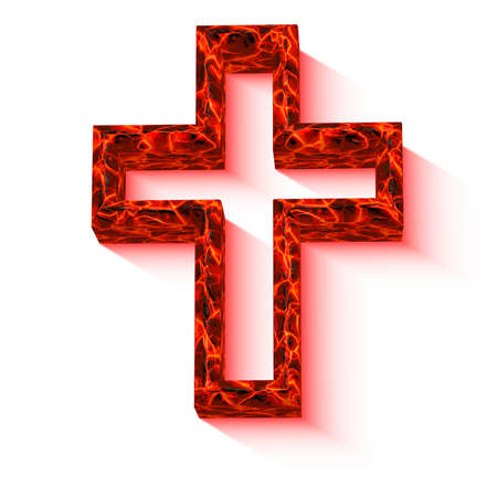 christian crosses: cross with lava texture isolated on white Stock Photo