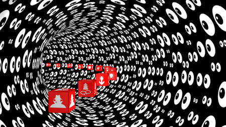 watching 3d: Red cubes with information security threat icons fly through a curved tunnel with an eyeballs texture watching 3D illustration