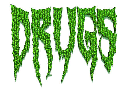 The word drugs made out of hundreds of little skulls concept for deadly addiction 3D illustration Stock Photo