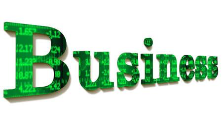 stock ticker: The word business with a green stock ticker texture isolated on white 3D illustration