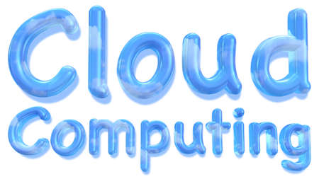 saas: The word cloud computing in a fluid font with a daylight sky and clouds texture isolated on white 3D illustration