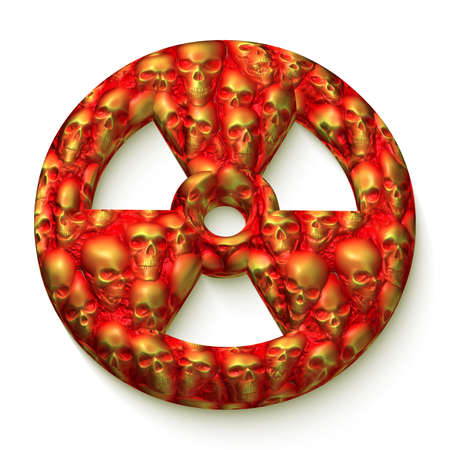 radiation sign: Radiation sign with a texture made from red and yellow skulls isolated on white
