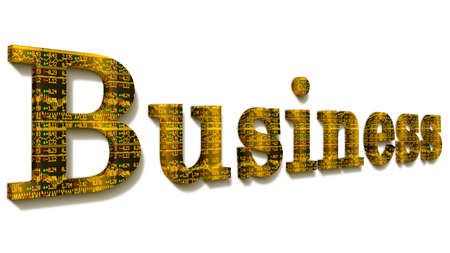 ticker: The word business with a yellow stock ticker texture isolated on white 3D illustration