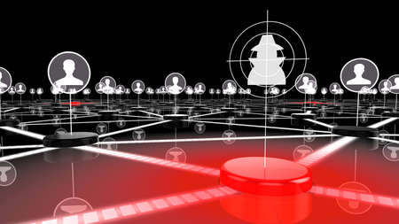 Dark network with glowing red node targeting a hacker information security 3D illustration