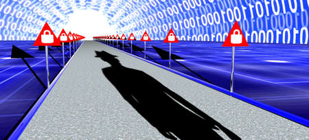 Road with red warning sign with locks leading into a glowing white digital tunnel and a hackers shadow 3D illustration