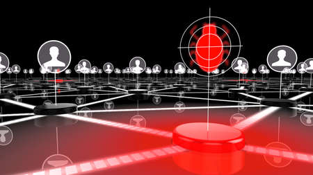 syndicate: Dark network with glowing red node targeting a bug information security 3D illustration