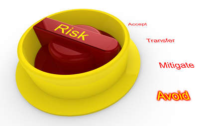 mitigate: Rotary knob with the word risk in yellow turned to avoid isolated on white 3D illustration