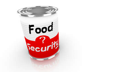 preservatives: Tin can with a label saying food security isolated on white 3D concept illustration