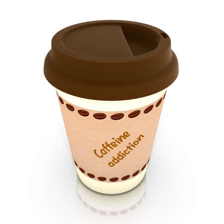 caffeine: Paper coffee cup with brown lid and a label saying caffeine addiction 3D illustration