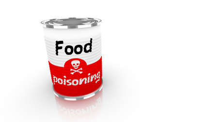 preservatives: Tin can with a label saying food poisioning and a skull isolated on white 3D concept illustration Stock Photo