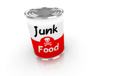 preservatives: Tin can with a label saying junk food and a skull isolated on white 3D concept illustration
