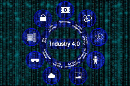 industry: Digital revolution of manufacturing concept explaining the pillars of industry 4.0 in blue circles on a digital datastream background