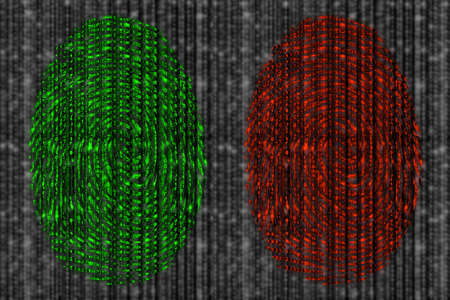 Red and green fingerprint revealing digital datastreams on a blurry grey background from zero and 1 Stock Photo