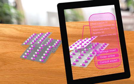 overuse: Augmented reality vitamin pills seen through a tablet with analysis and options 3D illustration